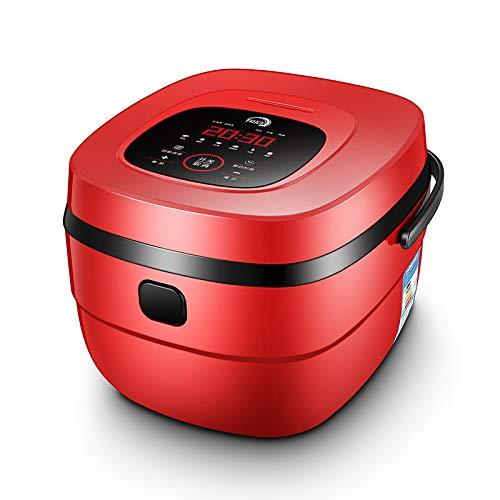 Rice cooke Smart Reiskocher, Multifunktionale Quadratische Moderne Reiskocher, Haushaltsgeräte Edelstahl, Antihaft-Pfanne,rot,5L