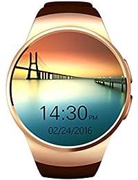 Reloj inteligente,BelievE KW18 Función de llamada de la vigilancia de la frecuencia cardíaca de la tarjeta del TF SIM Smart Watch para iOS y Android (Oro)