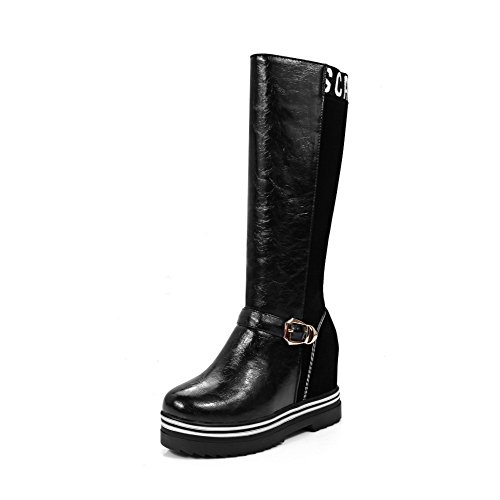 AgooLar Damen Blend-Materialien Ziehen auf Rund Zehe Mittler Absatz Mitte-Spitze Stiefel, Schwarz, 38