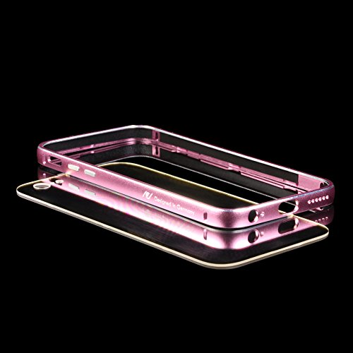 URCOVER® Custodia Bumper in Alluminio Rosso + Back Case Trasparente Apple iPhone 6 plus / 6s plus | Cover Protettiva Leggera e Ultrasottile Fucsia