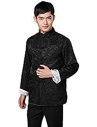 JTC Mens Classic Top Royal Kung Fu Jacket Chinese Shirt Tunic Coat 5 Colors (UK XL--Chinese 3XL, Black)