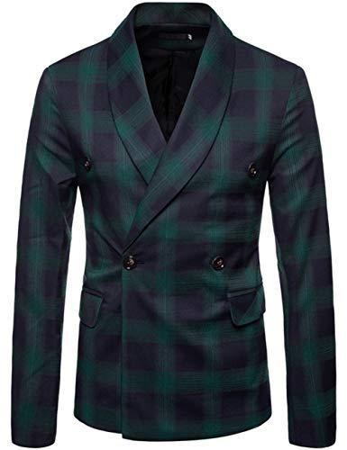 Ninalike Herren Anzug Herbst Herren Casual Double Breasted Blazer Gr. XX-Large, (Tuxedo 4 Stück Kostüm)
