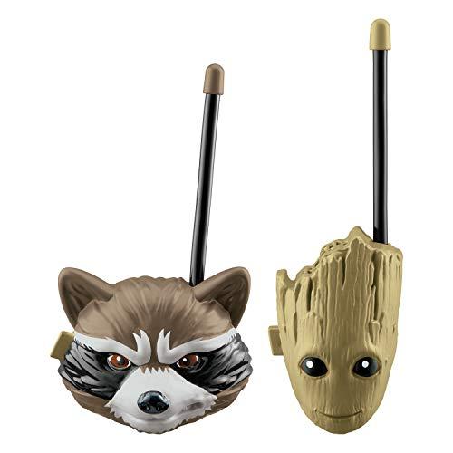 EKids Guardianes de la Galaxia Vol. 2 Pareja de Walkie Talkies para niños (Antena Flexible, diseño Cabezas de Groot y Rocket), Color Verde/marrón (GG-202)
