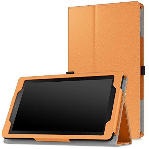 MoKo Kompatibel mit Amazon Fire 2015 7 Zoll (Vorherige 5th Generationeration - 2015 Modell) Hülle - Kunstleder Ständer Schutzhülle Smart Cover mit Stift-Schleife & Stanfunktion, Orange