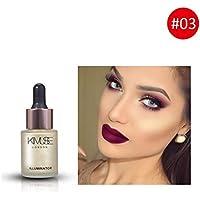 PeHtion Líquido Resaltador Maquillaje Iluminador Crema Corrector Facial Ojos Brillo 3D Contorno Maquillaje Gotas especulares de