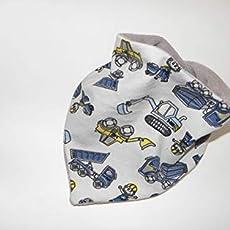 Grau Rosa Babyhalstuch Wendehalstuch Halstuch mit Elefanten und Punkten Druckkn/öpfe Baumwolljersey handmade 0-2,5 Jahre