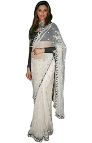 Jay Sarees Georgette Saree With Blouse Piece (Jcbolly5_White_Free Size)