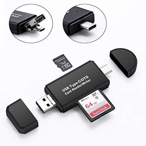 JIANG SD-Kartenleser, Typ C & Micro-USB & USB 3 in 1 OTG-Kartenleser Hochgeschwindigkeits-USB 2.0 Universal OTG TF/SD für Android-Computererweiterungs-Header -