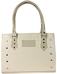 Zapatoz Women's Plain White Leatherite Tote Bag (Tote-K-white-Metal Snap Button)