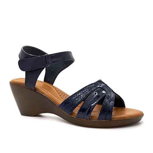 London Footwear , Damen Kn枚chel-Riemchen Blau