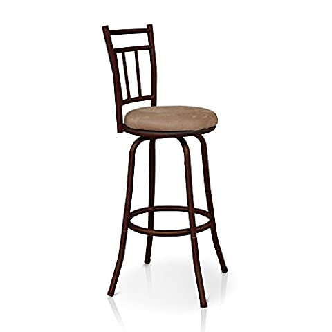 iKayaa Antique Swivel Bar Stool with Backrest Kitchen Dining Chair Metal Frame Foam Padded