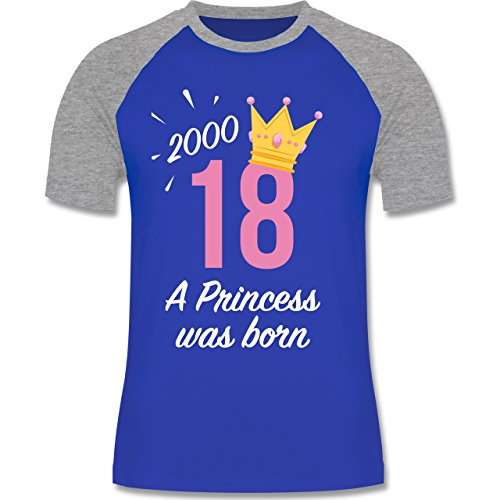 Shirtracer Geburtstag - 18 Geburtstag Mädchen Princess - Herren Baseball Shirt Royalblau/Grau meliert