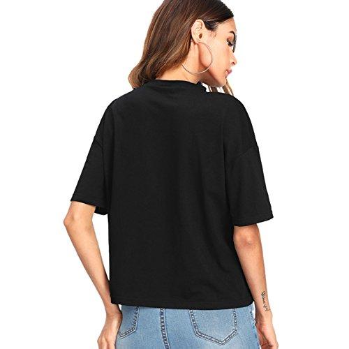 ROMWE Femme Tee T-shirt Top à Manche Court Col Rond Loose Grand taille avec perle Noir Noir
