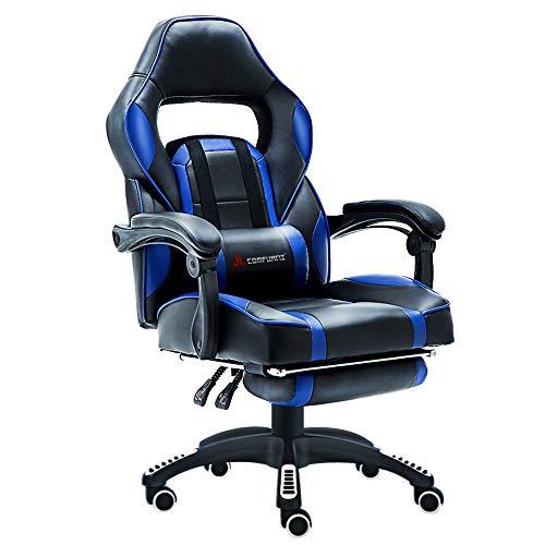 JL Comfurni Gaming Leder Executive Computer-Schreibtisch Stuhl Home Office Drehstuhl höhenverstellbar Ergonomische Fußstütze Liege mit Lenden-Kissen und gepolstert
