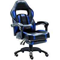 JL Comfurni Gaming Leather Chair Home Office Swivel Executive Computer Desk Chair Height Adjustable Ergonomic Recliner with Lumbar Cushion and Padded Footrest