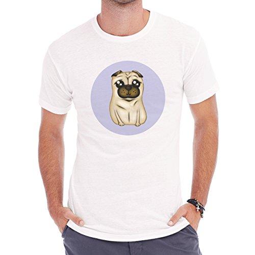 Cute Little Pug Dog Icon Big Eyes Herren T-Shirt Weiß