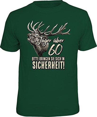 Über Die Jagd T-shirt (RAHMENLOS Original Geschenk T-Shirt für den etwas älteren Jäger über 60, Bitte bringen Sie Sich in Sicherheit! - Größe XL)