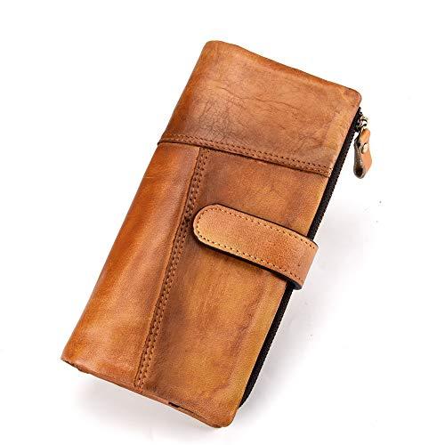 LETEULO RFID Damen Geldbörse aus Leder mit Reißverschluss im Retro-Stil Braun