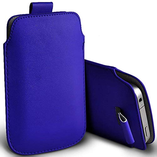 Price comparison product image I-Sonite (Dark Blue) Premium Slip In Pull Tab Sleeve Faux Leather Pouch Case Cover For Samsung Galaxy J5 (2017) [XXL]