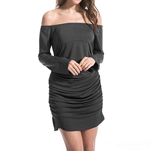 BOLANQ Damen Skaterkleid Rundhals Fattern Stretch Basic Kleider