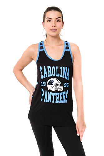 Icer Brands NFL Damen Jersey Ärmelloses Mesh Weiches Tank Top T-Shirt, Team Logo Farbe, Damen, JTL2186A-CP-Large, BLK, Large - Farbe Logo-t-shirt
