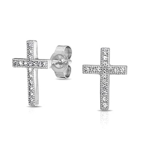 Bling Jewelry Micropave Micropave Argent CZ Petite Croix Stud Earrings