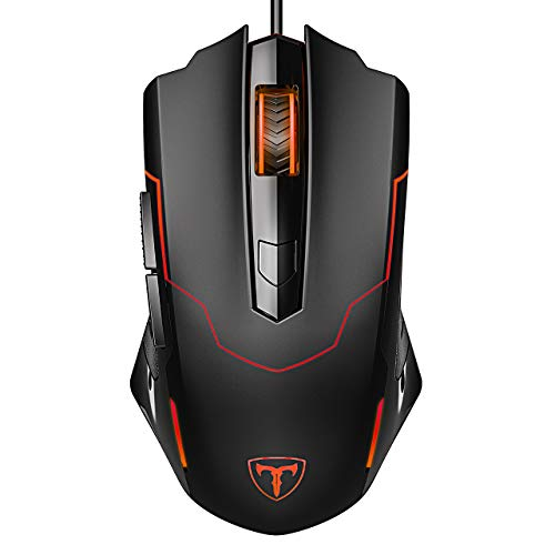 Gaming Mouse Wired, PICTEK 8 Programmable Buttons, RGB Backlit 7200 DPI Adjustable, Grip Ergonomic Optical PC Computer Gaming Mice with Fire Button