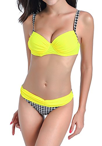 DODOING Damen Bikini Push Up Gepolstert Streifen Tupfen Triangel Brasilianische Bademode Bikini-Sets (Shorts Print Spandex)