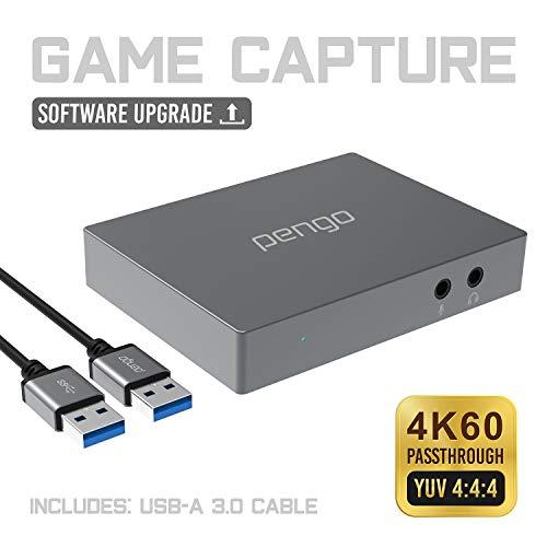 pengo 4K HDMI Grabber, Capture de Jeu, Carte d'Acquisition, Carte de Capture, 1080P à 60fps, Enregistreur pour Mac, PC, PS4, Switch,Streaming sur Twitch, Youtube, Latence Faible
