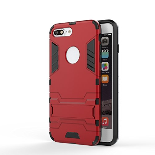 2 in 1 New Armour Tough Art Hybrid Dual Layer Rüstung Defender PC Hard Cases mit Ständer Stoß- Fall für iPhone 7 plus ( Color : Black-b , Size : IPhone 7 Plus ) Red