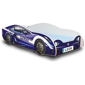 Kinderbett auto blau  Autobett in zwei Farben mit Lattenrost und Matratze 80x180 cm + ...