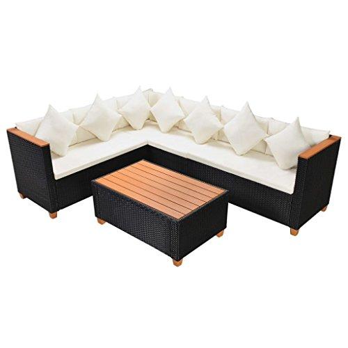 Tidyard- set divani da giardino, mobili da esterno 21 pz in polirattan e wpc nero