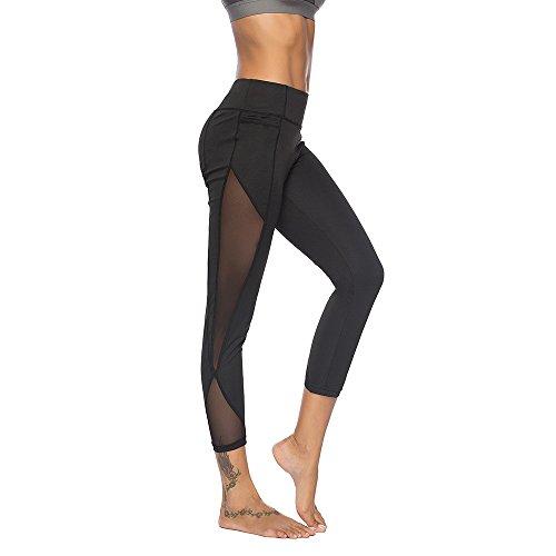 Homebaby Vintage Leggings Sportivi Donna Push Up - Eleganti Leggings Sport Opaco Yoga Fitness Spandex Palestra Pantaloni Leggins - Pantaloni Tuta Donna- Abbigliamento fitness donna (M, Nero)