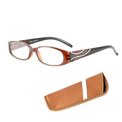 Yunso Lesebrillen Metall Sehhilfe Augenoptik Halbrand Halbrandbrille Brille Lesehilfe für Damen Herren (Braun, 3.00)