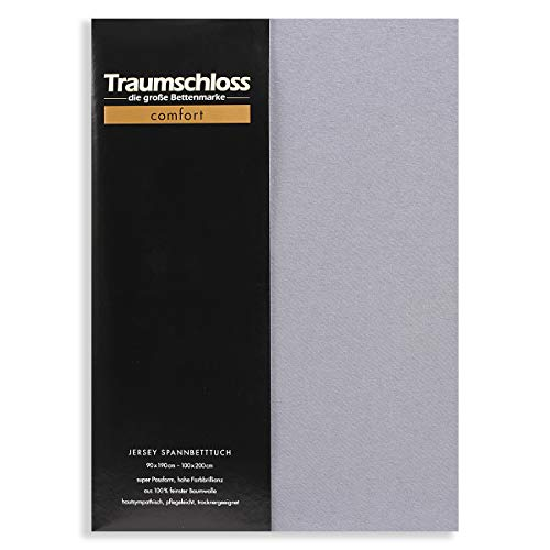 Traumschloss Edel-Jersey Spannbetttuch Comfort 140-160 cm x 200 cm Grau