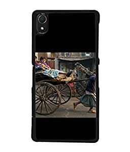 PrintVisa Designer Back Case Cover for Sony Xperia Z2 (5.2 Inches) (Rikshaw transport pulling towing public)