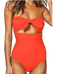 Bikinis Mujer 2020 SHOBDW Traje de Baño Mujer Una Pieza Vintage Bañadores de Mujer Sin Tirantes Push Up Bikinis Monokini Solid Arco Vendaje Bañador Espalda Descubierta
