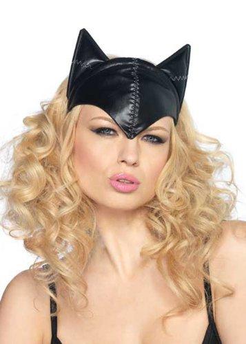 Erwachsene Damen schwarz Catwoman Maske Kopfbedeckung mit Ohren