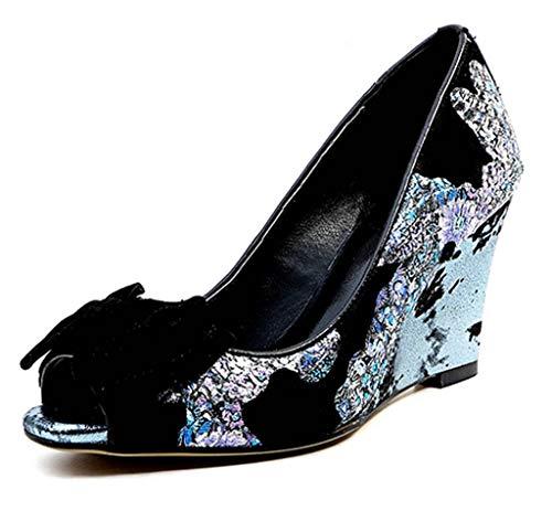 SimpleC Damen Pony Haar Peep-Toe mit Mustern Bedruckten Sandalen, 8 cm Wedges Heel Schuhe mit Schleife beschmücktenBlau40.5