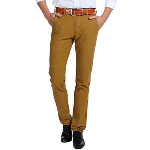Flat Front Stretch-leggings (Zhhlinyuan Herren Baumwolle Sanded Freizeithose Classic-Fit Stretch Straight Pants für Summer Skin Friendly)