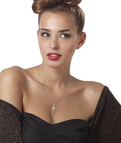 Collier Hippocampe d'Or - Majestueux pendentif de designer Fait main - Petit modèle - Bijoux Marin - Cadeau de Noel pour femme Nacré