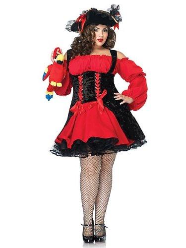 Generique - Sexy Piratenkostüm Plus Size für Damen schwarz-rot (Pirat Für Erwachsene Kostüm Plus)