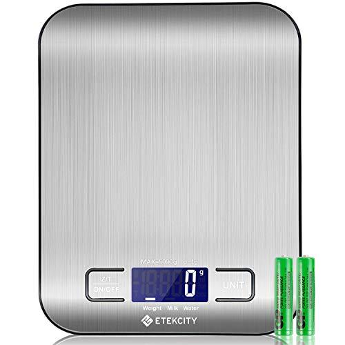 Etekcity bilance da cucina digitale, bilance da cucina in acciaio inossidabile ultra sottile per alimenti, display lcd, compatta, facile da pulire, argento