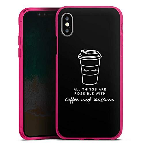DeinDesign Silikon Hülle Case Schutzhülle für Apple iPhone XS Mascara Kaffee Spruch