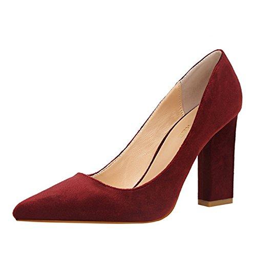 FLYRCX Stile Europeo bocca superficiale ruvida scamosciato tacco alto scarpe tacco scarpa lavoro scarpe partito scelta di vari colori H