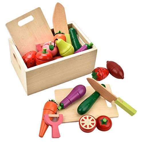CARLORBO - Juego de Juguetes de Madera para niños de 2 años de Edad - Juego de Juguetes magnéticos para Jugar con Frutas y Verduras para Jugar a la Cocina
