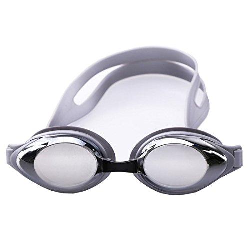 QQBL Wasserdicht und Nebel-Nachweis Schwimmen Brillen HD Männchen und Weibliche Allgemeine Silikon PC TPU Myopie Großen Rahmen Schwimmen Gläser 0,3 Kg,Gray