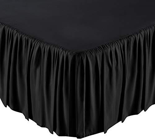 Lux Decor Collection Bettrock, lang, stapelbar, strapazierfähig, bequem und Abriebfest, vierfach gefaltet, 100% King Ruffle Black