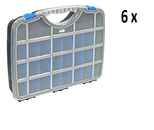 6 x TAYG Sortimentskästen & Werkzeugkoffer Basic Box 01- 2,4 Ltr/ bis zu 26 Fächer /312 x 238 x 51 mm- schwarz-blau