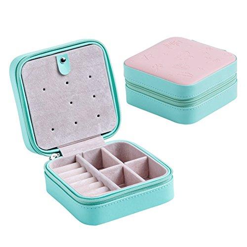 Reißverschluss-kasten (Klein Schmuckkasten PU Leder Schmuck Box Schmucktasche Kasten mit Reißverschluss für kosmetik Schmucksache Ringe Ohrringe Armbänder Halskette Geschenk (C))